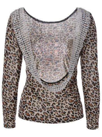 Best Backless Leopard Print T-Shirt with  Lace Panel