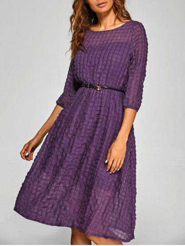 Outfit Plaid Pattern A Line Swing Dress PURPLE L