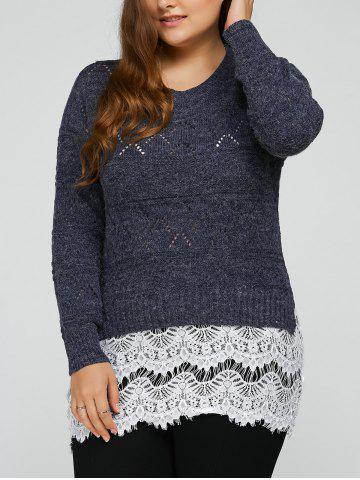 Hot Plus Size Lace Splicing Openwork Sweater