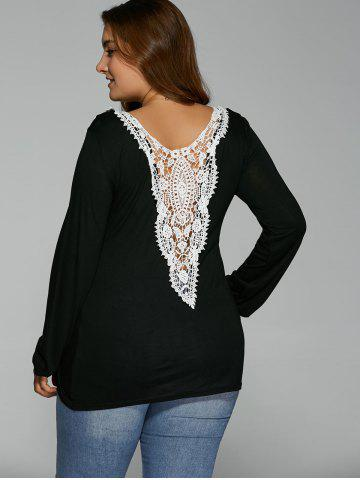 Back Lacework Splicing Plus Size T-Shirt - Black - L