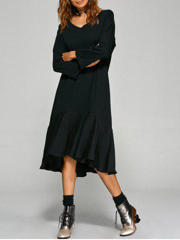 Loose Fit Flounce Hem Asymmetric Dress - Black - One Size
