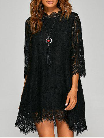 Fashion Casual Irregular Hem Openwork Lace Dress With Sleeves BLACK XL