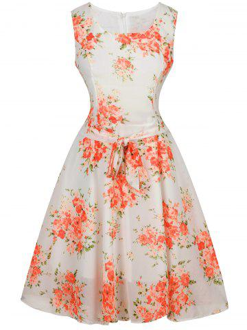 Latest Tie-Waist Floral Print Dress