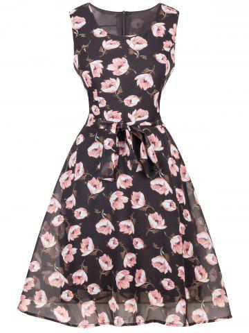 Sale Floral Chiffon Knee Length Belted Flare Dress BLACK 2XL