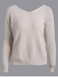 Back Tie Buttons Embellished Sweater - APRICOT