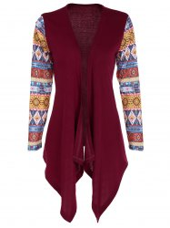 Tribal Print Asymmetric Hem Cardigan -