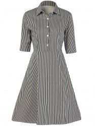 Vintage Button Design Striped A Line Dress