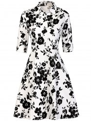 Vintage Buttoned Floral Print Dress - WHITE AND BLACK 2XL