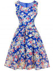 Vintage Ornate Floral Belted Tea Dress