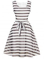 Vintage Tie-Waist Striped Dress
