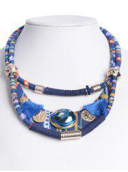 Retro Layered Faux Crystal Statement Necklace - BLUE
