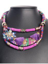 Ethnic Floral Tassel Statement Necklace