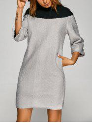 Argyle Pattern Patchwork Knitted Dress - BLACK AND GREY