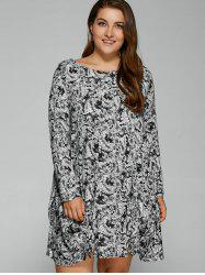Plus Size Asymmetric Hem Printed Dress