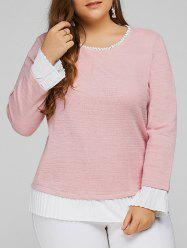 Plus Size Patchwork Cotton Blouse - PINK 4XL