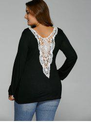 Back Lacework Splicing Plus Size T-Shirt