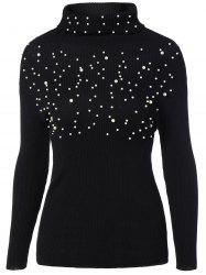 Beads Embellished Sweater - BLACK ONE SIZE