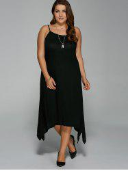 Plus Size Asymmetric Hem Spaghetti Strap Dress