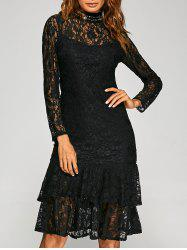 High Neck Flounce Lace Prom Party Dress - BLACK