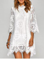 Loose Irregular Hem Openwork Lace Dress With Sleeves - WHITE