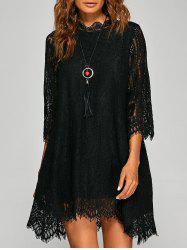 Casual Irregular Hem Openwork Lace Dress With Sleeves