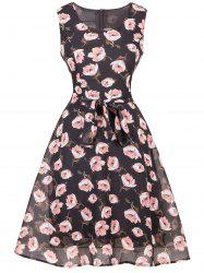 Floral Chiffon Knee Length Belted Flare Dress - BLACK 2XL