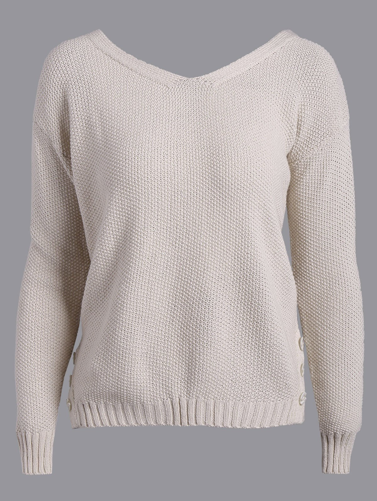 Chic Back Tie Buttons Embellished Sweater