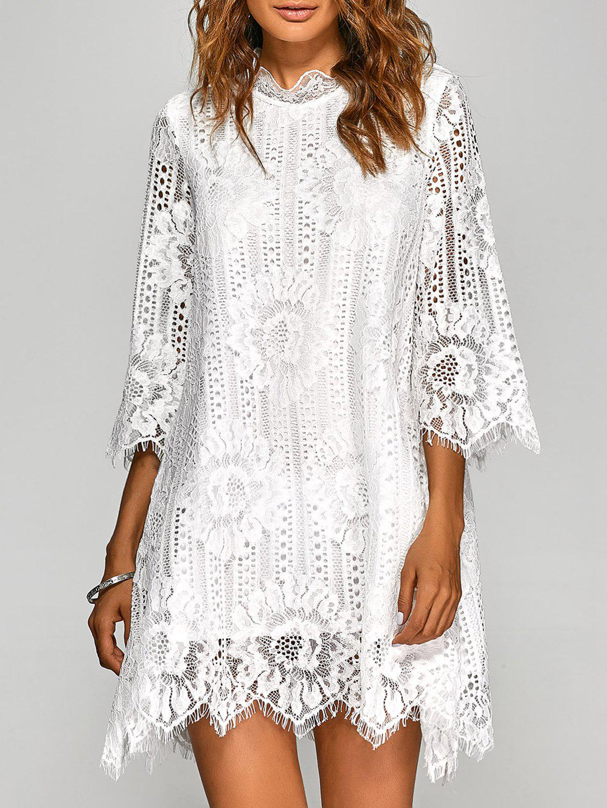 Unique Casual Irregular Hem Openwork Lace Dress With Sleeves