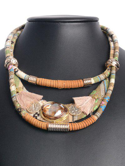 Retro Layered Faux Crystal Statement NecklaceJEWELRY<br><br>Color: BROWN; Gender: For Women; Metal Type: Alloy; Style: Chinese Style; Shape/Pattern: Geometric; Weight: 0.067kg; Package Contents: 1 x Necklace;