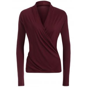 Surplice Stretchy Slimming T-Shirt - Wine Red - S