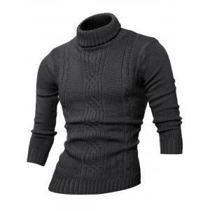 Long Sleeve Rib-Hem Turtleneck Cable-Knit Sweater - Deep Gray - M