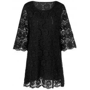 Lace Floral Overlay 3/4 robe à manches