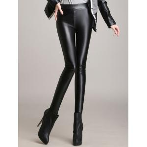 Skinny High Waisted Faux Leather Pants - Black - Xl