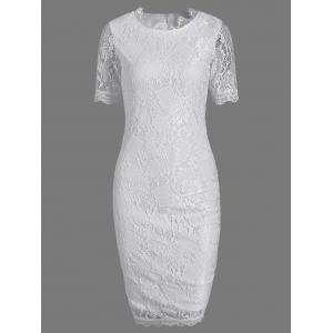 Round Neck Lace Hook Bodycon Pencil Dress