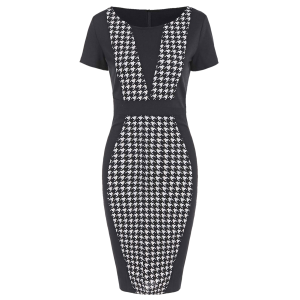 Houndstooth Pencil Dress with Sleeves - Black - M