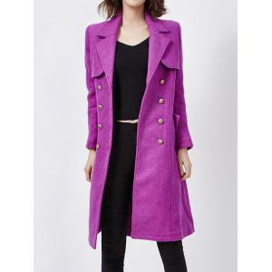 Wool Blend Double-Breasted Long Trench Coat with Belt