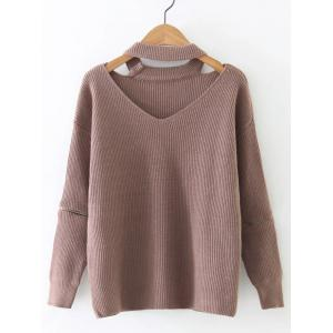 Zipper Design Cut Out Sweater - Nude Pink - One Size