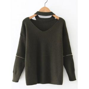 Zipper Design Cut Out Sweater - Olive Green - One Size