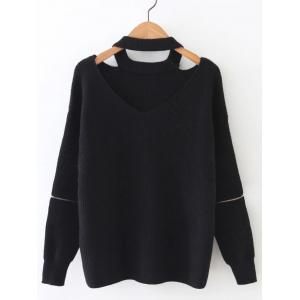 Zipper Design Cut Out Sweater - Black - One Size