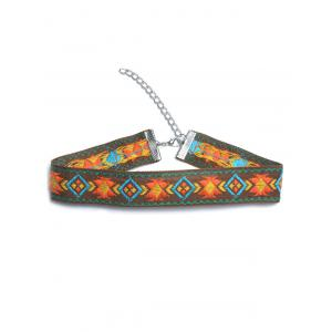 Embroidered Choker Necklace - Orange