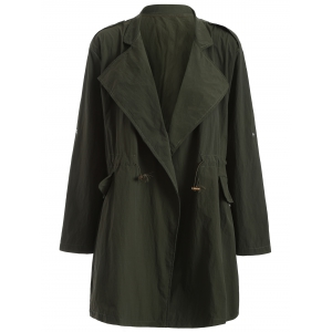 Plus Size Drawstring Trench Coat with Pocket - Army Green - 3xl