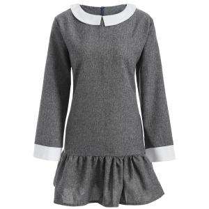 Plus Size Peter Pan Collar Dress - Gray - 2xl