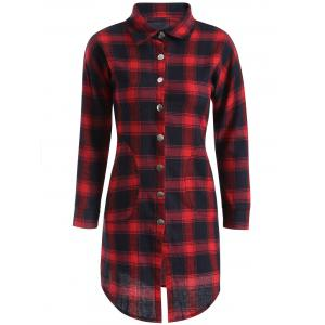 Button Up Plaid Long Flannel Shirt