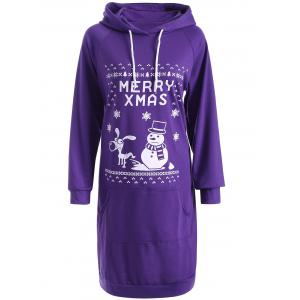 Drawstring Long Sleeve Christmas Hoodie Dress