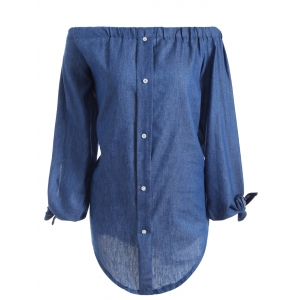 Off The Shoulder Long Sleeve Chambray Tunic Shirt Dress