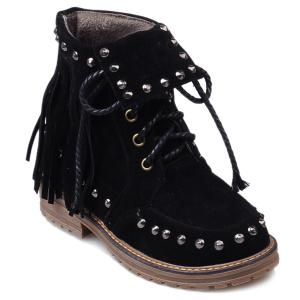 Rivet Lace-Up Suede Fringe Boots