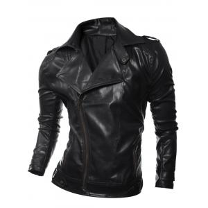 Epaulet Design Zip Up Faux Leather Biker Jacket