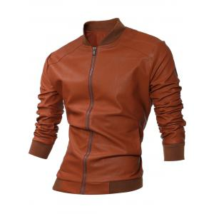 Stand Collar Rib-Hem Zip Up Faux Leather Jacket - Brown - Xl