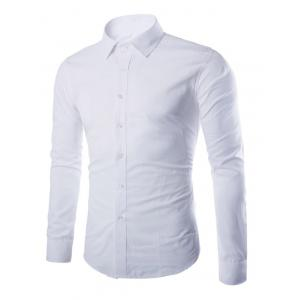 Turn-down Collar Button Up Plain Shirt - White - M