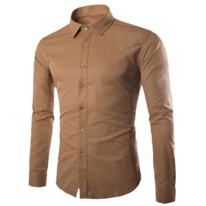Turn-down Collar Button Up Plain Shirt - Khaki - 2xl